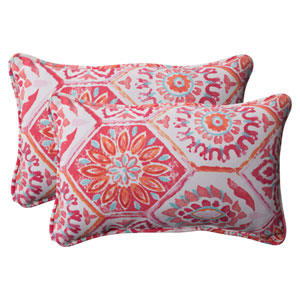 Outdoor Summer Breeze Corded Rectangular Throw Pillow in Flame, Set of Two