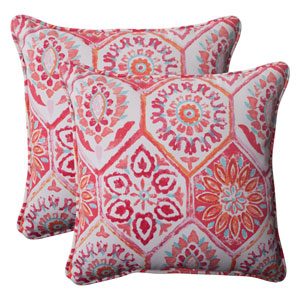 Outdoor Summer Breeze Corded 18.5-Inch Throw Pillow in Flame, Set of Two