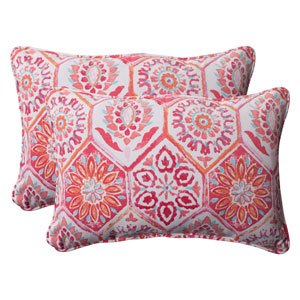 Outdoor Summer Breeze Corded Oversized Rectangular Throw Pillow in Flame, Set of Two
