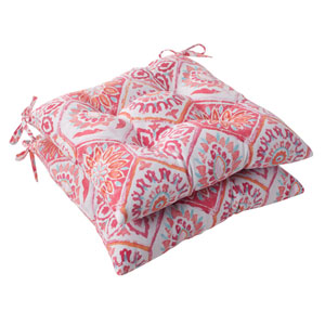 Outdoor Summer Breeze Tufted Seat Cushion in Flame, Set of Two