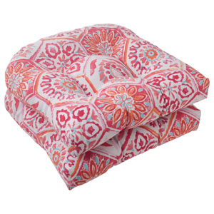 Outdoor Summer Breeze Wicker Seat Cushion in Flame, Set of Two