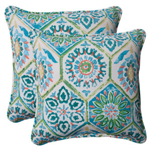 Outdoor Summer Breeze Corded 18.5-Inch Throw Pillow in Pool, Set of Two