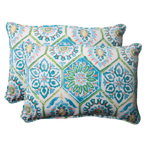 Outdoor Summer Breeze Corded Oversized Rectangular Throw Pillow in Pool, Set of Two