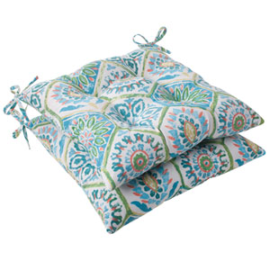 Outdoor Summer Breeze Tufted Seat Cushion in Pool, Set of Two