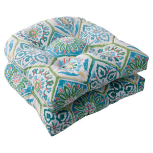 Outdoor Summer Breeze Wicker Seat Cushion in Pool, Set of Two