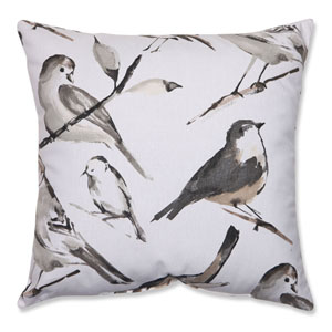 Bird Watcher Charcoal, Black, Taupe Pillow