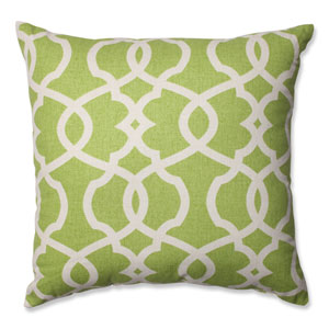 Lattice Damask Green, Beige Pillow