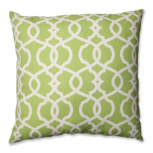 Lattice Damask Green, Beige Floor Pillow