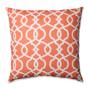 Lattice Damask Coral, Beige Floor Pillow