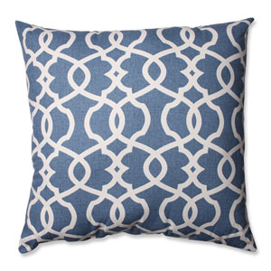 Lattice Damask Blue, Beige Floor Pillow