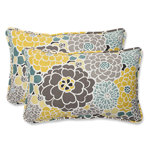 Blue and Tan Outdoor Full Bloom Rectangular Throw Pillow, Set of 2