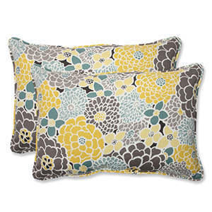 Blue and Tan Outdoor Full Bloom Over-sized Rectangular Throw Pillow, Set of 2