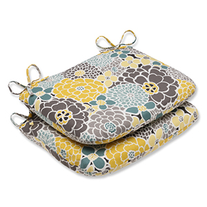 Blue and Tan Outdoor Full Bloom Rounded Corners Seat Cushion, Set of 2