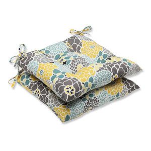 Blue and Tan Outdoor Full Bloom Wrought Iron Seat Cushion, Set of 2