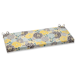 Blue and Tan Outdoor Full Bloom Bench Cushion