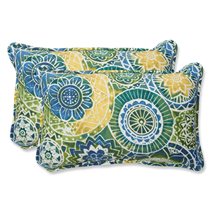 Blue and Green Outdoor Omnia Lagoon Rectangular Throw Pillow, Set of 2