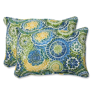Blue and Green Outdoor Omnia Lagoon Over-sized Rectangular Throw Pillow, Set of 2