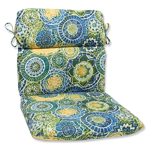 Blue and Green Outdoor Omnia Lagoon Rounded Corners Chair Cushion