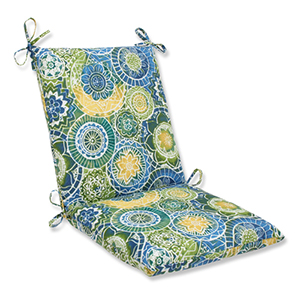 Blue and Green Outdoor Omnia Lagoon Squared Corners Chair Cushion