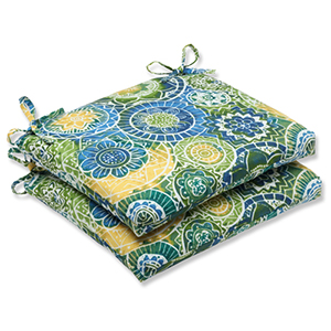 Blue and Green Outdoor Omnia Lagoon Squared Corners Seat Cushion, Set of 2