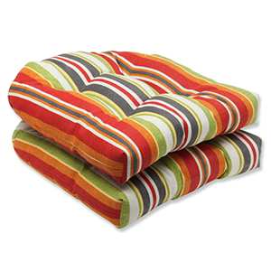 Green and Red Outdoor Roxen Stripe Citrus Wicker Seat Cushion, Set of 2