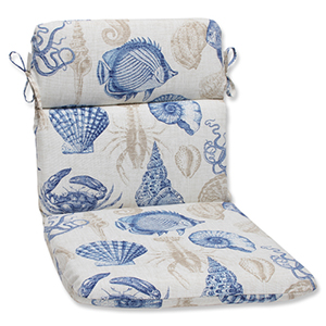 Blue and Tan Outdoor Sealife Marine Rounded Corners Chair Cushion