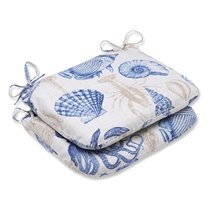 Blue and Tan Outdoor Sealife Marine Rounded Corners Seat Cushion, Set of 2