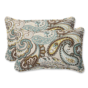 Blue and Brown Outdoor Tamara Paisley Quartz Rectangular Throw Pillow, Set of 2