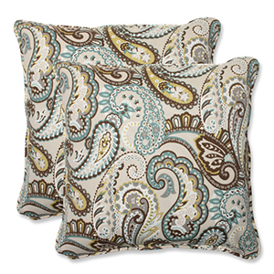 Blue and Brown Outdoor Tamara Paisley Quartz 18.5-inch Throw Pillow, Set of 2
