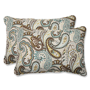Blue and Brown Outdoor Tamara Paisley Quartz Over-sized Rectangular Throw Pillow, Set of 2