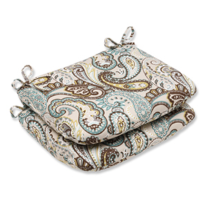 Blue and Brown Outdoor Tamara Paisley Quartz Rounded Corners Seat Cushion, Set of 2