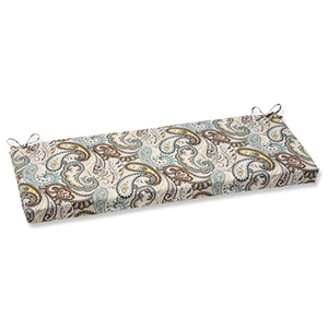 Blue and Brown Outdoor Tamara Paisley Quartz Bench Cushion