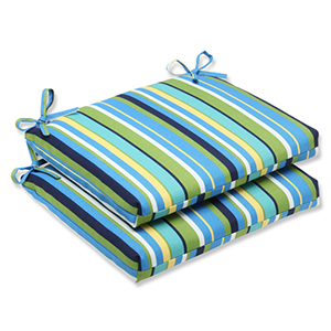 Blue and Green Outdoor Topanga Stripe Lagoon Squared Corners Seat Cushion, Set of 2