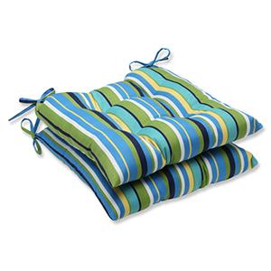 Blue and Green Outdoor Topanga Stripe Lagoon Wrought Iron Seat Cushion, Set of 2