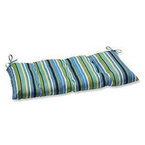 Blue and Green Outdoor Topanga Stripe Lagoon Wrought Iron Loveseat Cushion