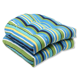 Blue and Green Outdoor Topanga Stripe Lagoon Wicker Seat Cushion, Set of 2