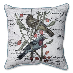 Adresse Embroidered Birds 16.5-Inch Corded Throw Pillow