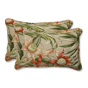 Tan Outdoor Botanical Glow Tiger Stripe Rectangular Throw Pillow, Set of 2