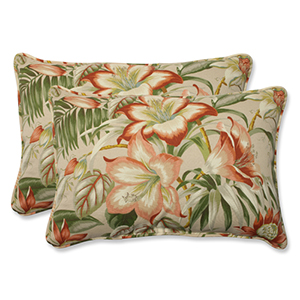 Tan Outdoor Botanical Glow Tiger Stripe Over-sized Rectangular Throw Pillow, Set of 2