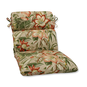 Tan Outdoor Botanical Glow Tiger Stripe Rounded Corners Chair Cushion