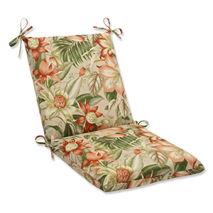 Tan Outdoor Botanical Glow Tiger Stripe Squared Corners Chair Cushion