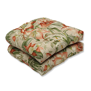 Tan Outdoor Botanical Glow Tiger Stripe Wicker Seat Cushion, Set of 2