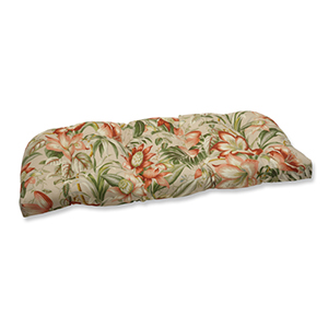 Tan Outdoor Botanical Glow Tiger Stripe Wicker Loveseat Cushion