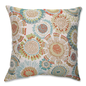 Maggie Mae Aqua Multi-Colored 18-Inch Square Throw Pillow