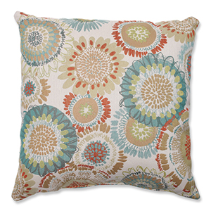 Maggie Mae Aqua Multi-Colored 16.5-Inch Square Throw Pillow