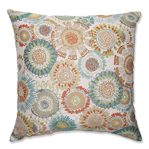 Maggie Mae Aqua Multi-Colored 24.5-Inch Square Floor Pillow
