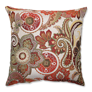Crazy Rosewood Red and Green 18-Inch Square Throw Pillow