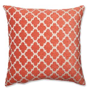 Keaton Santa Fe Orange and Off-White 18-Inch Square Throw Pillow