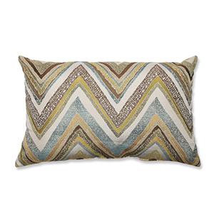 Zig Zag Capri Blue and Yellow Rectangular Throw Pillow