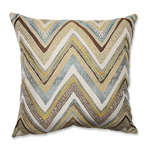 Zig Zag Capri Blue and Yellow 18-Inch Square Throw Pillow